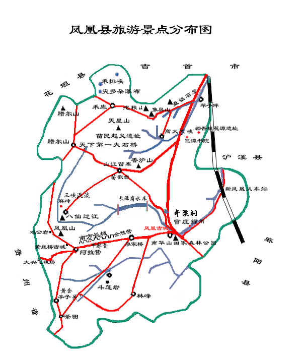 鳳凰古城景點分(fen)布圖(tu)